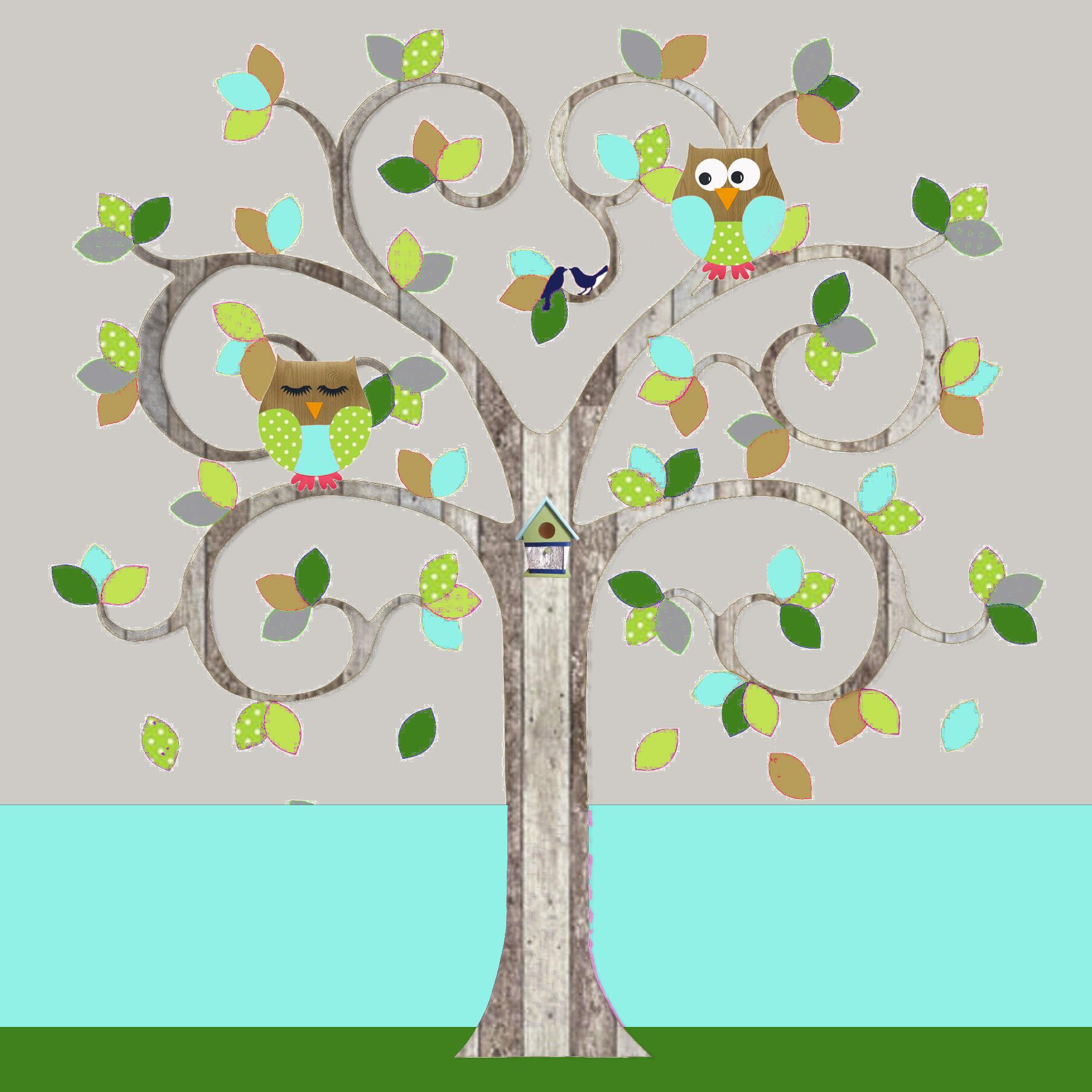 behangboom-C-sloophout-blauw-met-uilen