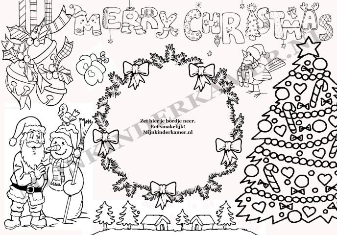 Placemat Om Te Kleuren Kerstmis 5 St