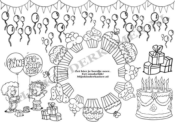 Placemat Om Te Kleuren Verjaardag 5 St