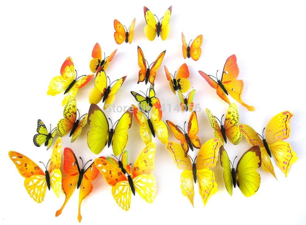 D Nnschiefer 3d vlinders geel